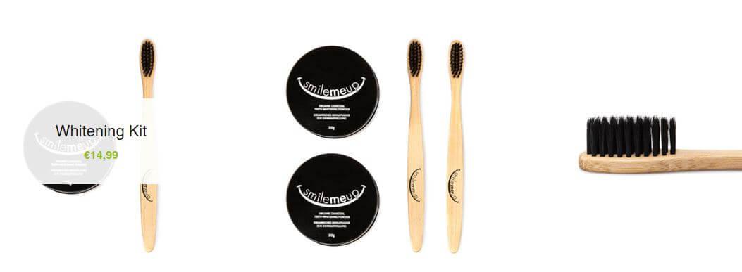 Tuben mit Aufheller und spezielle Zahnbürsten im Online-Shop von SmileMeUp